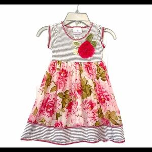 Iris And Ivy 4T Striped Floral Short Sleeve Dress